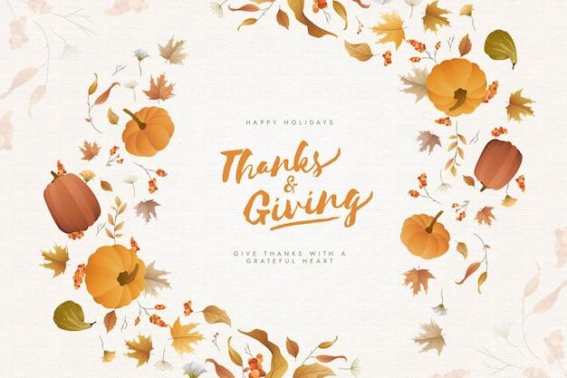 Thanksgiving-hintergrund mit kürbissen Premium Vektoren