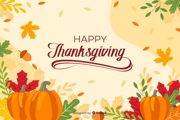 Thanksgiving-hintergrund mit schriftzug Kostenlosen Vektoren