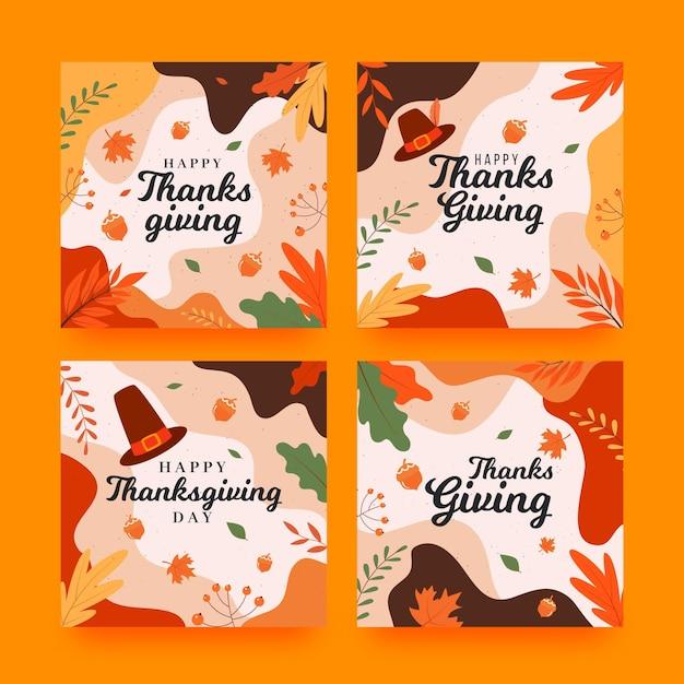 Thanksgiving instagram beiträge in flachem design Kostenlosen Vektoren