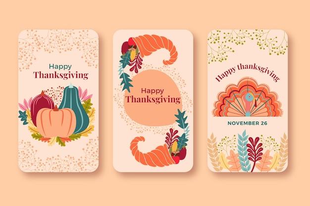 Thanksgiving instagram geschichten packen Kostenlosen Vektoren