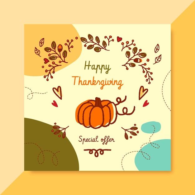 Thanksgiving instagram post mit kürbis und gruß Kostenlosen Vektoren