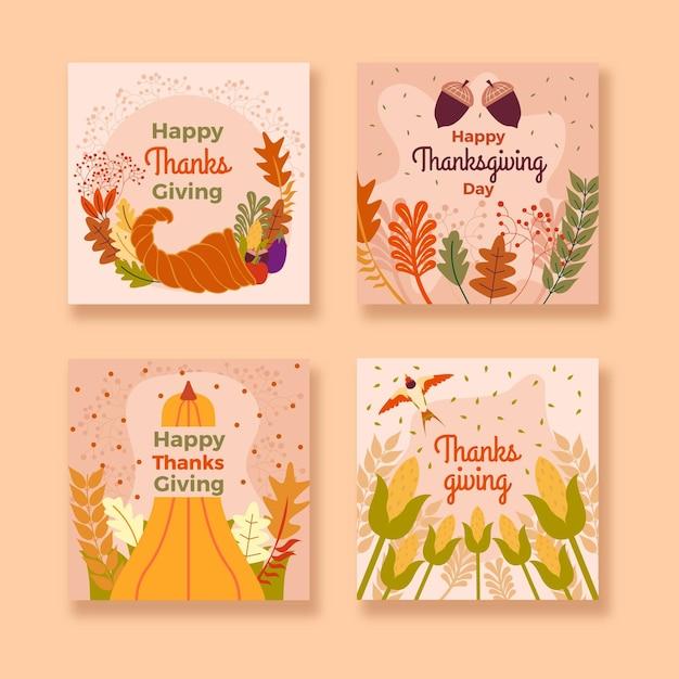 Thanksgiving instagram posts pack Kostenlosen Vektoren