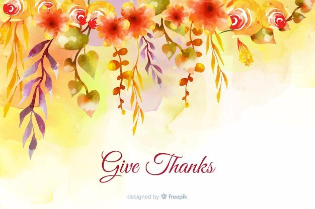 Thanksgiving-konzept mit aquarell hintergrund Kostenlosen Vektoren