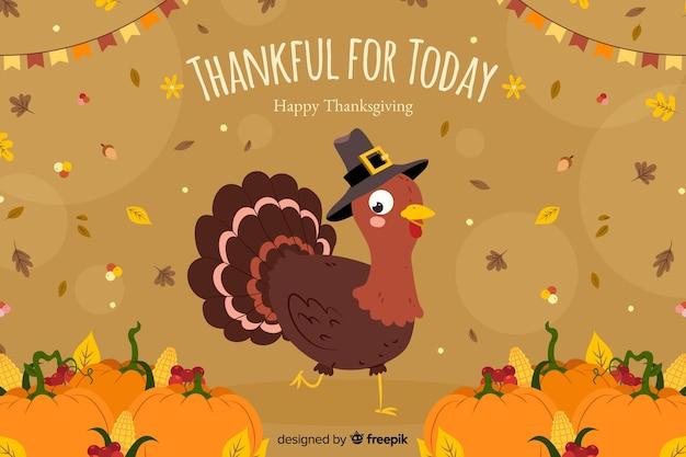 Thanksgiving-konzept mit hand gezeichneten hintergrund Kostenlosen Vektoren