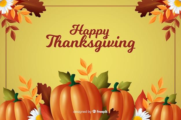 Thanksgiving-konzept mit realistischen hintergrund Kostenlosen Vektoren