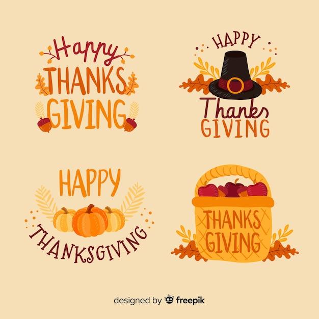 Thanksgiving-label-auflistungskonzept Kostenlosen Vektoren