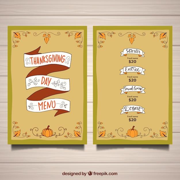 Thanksgiving-Menü-Vorlage mit Band   Download der kostenlosen Vektor