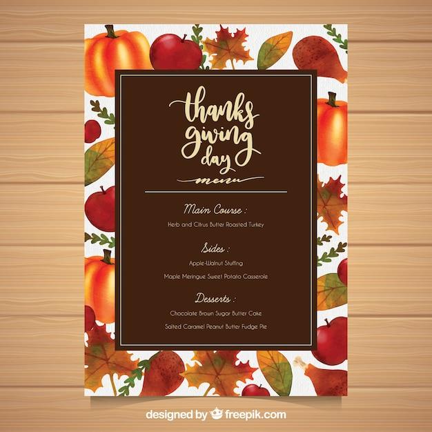 Thanksgiving-Menü-Vorlage mit handgezeichneten Essen | Download der ...