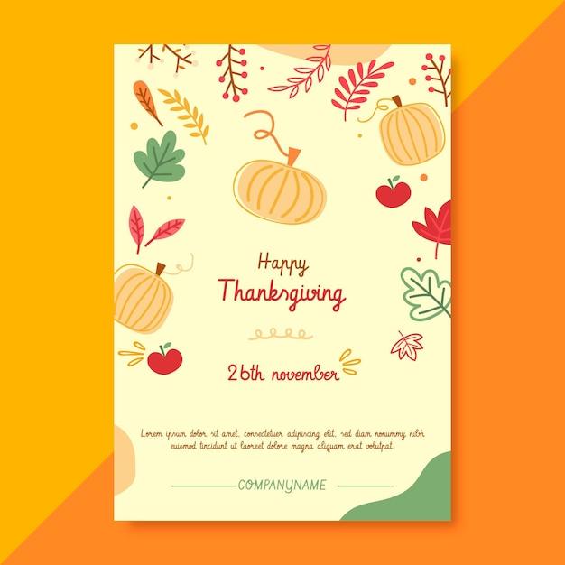 Thanksgiving-plakatschablone mit kürbissen und blättern Kostenlosen Vektoren