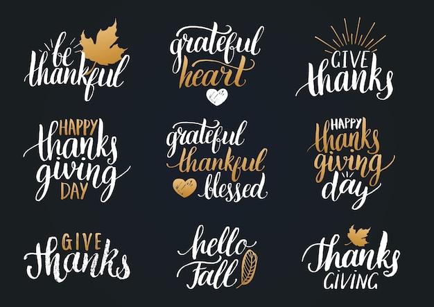 Thanksgiving-schriftzug für einladungen oder festliche grußkarten. handschriftliches kalligraphieset Premium Vektoren