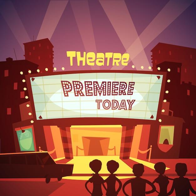 Theater eingang karikatur illustration Kostenlosen Vektoren