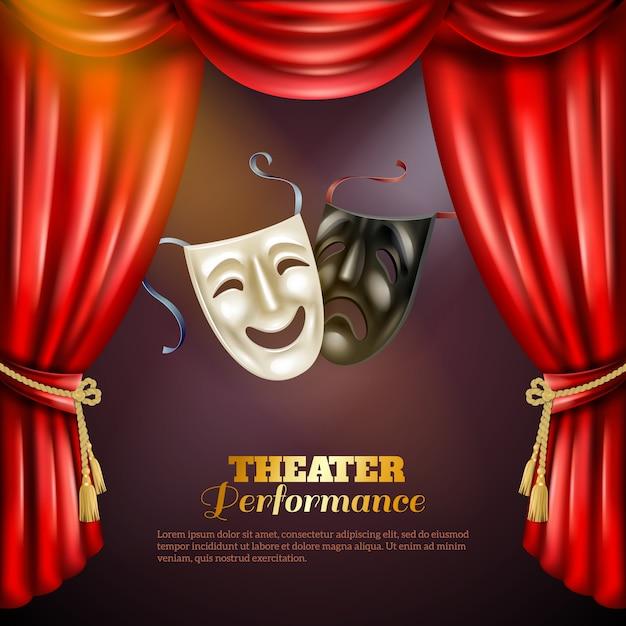 Theater hintergrund illustration Kostenlosen Vektoren