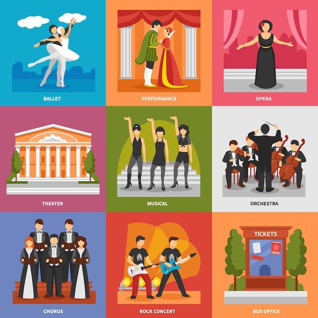 Theater-kompositionen-konzept Kostenlosen Vektoren