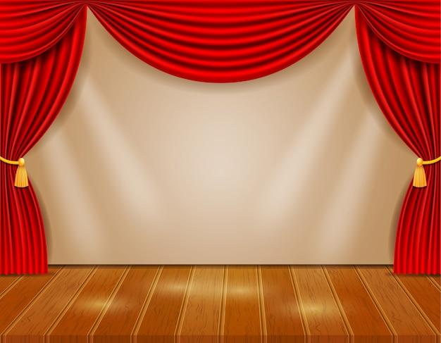 Theaterbühne in der halle mit roten vorhängen Premium Vektoren