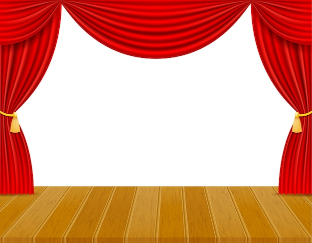 Theaterbühne in der halle mit roter vorhangillustration lokalisiert auf weißem hintergrund Premium Vektoren