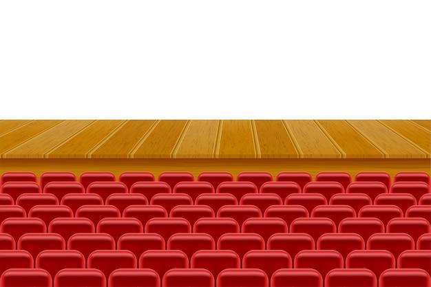 Theaterbühne in der halle mit sitzen für zuschauerillustration lokalisiert auf weißem hintergrund Premium Vektoren