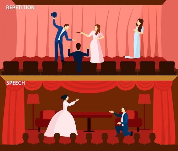 Theaterleistung 2 flache fahnenzusammensetzung Kostenlosen Vektoren