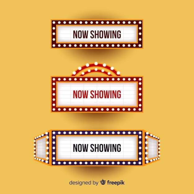Theaterzeichen mit lichtern für schauspieltitel Kostenlosen Vektoren