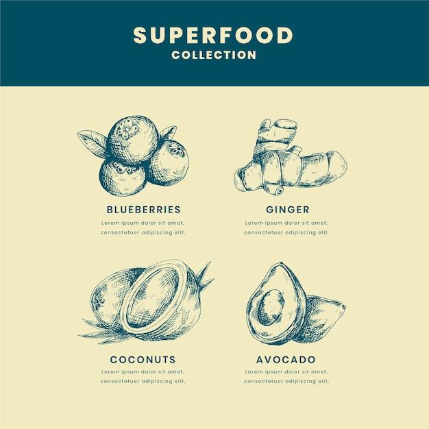Thema der superfood-sammlung Kostenlosen Vektoren