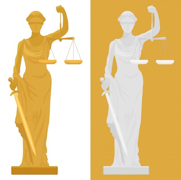 Themis femida-statue Premium Vektoren