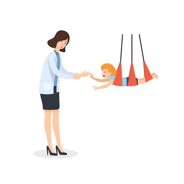 Therapeutenspiel mit kindern zur sensorischen stimulierung der kindlichen entwicklung. Premium Vektoren