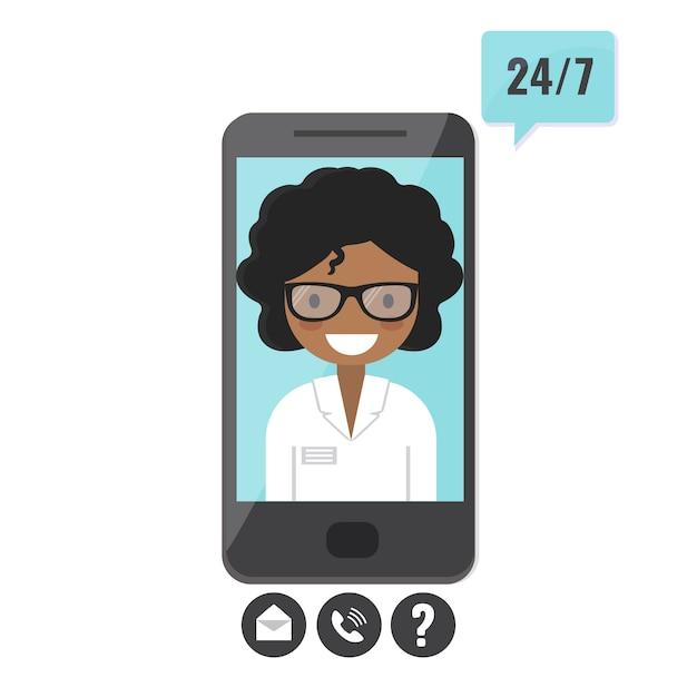 Therapeutin auf dem smartphone-bildschirm. arztberatung, telemedizin, antrag auf medizinische unterstützung Premium Vektoren
