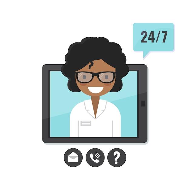 Therapeutin auf tablettbildschirm. arztberatung, telemedizin, antrag auf medizinische unterstützung Premium Vektoren