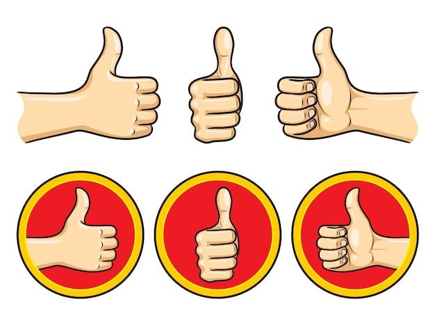 Thumb up cartoon gesetzt Premium Vektoren