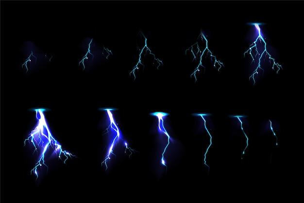 Thunderbolt-treffer für game-fx-animationen Kostenlosen Vektoren