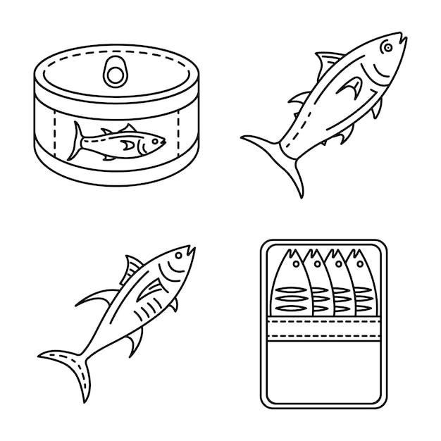 Thunfisch-icon-set. umrisssatz thunfischvektorikonen Premium Vektoren
