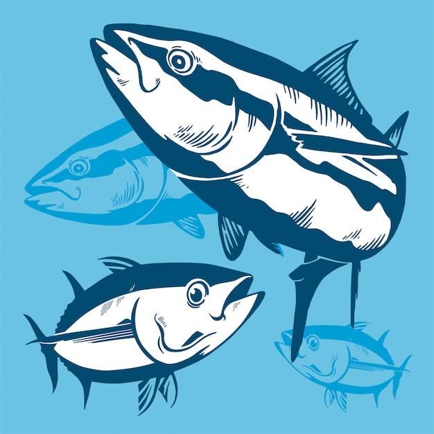 Thunfisch symbol zusammensetzung Premium Vektoren
