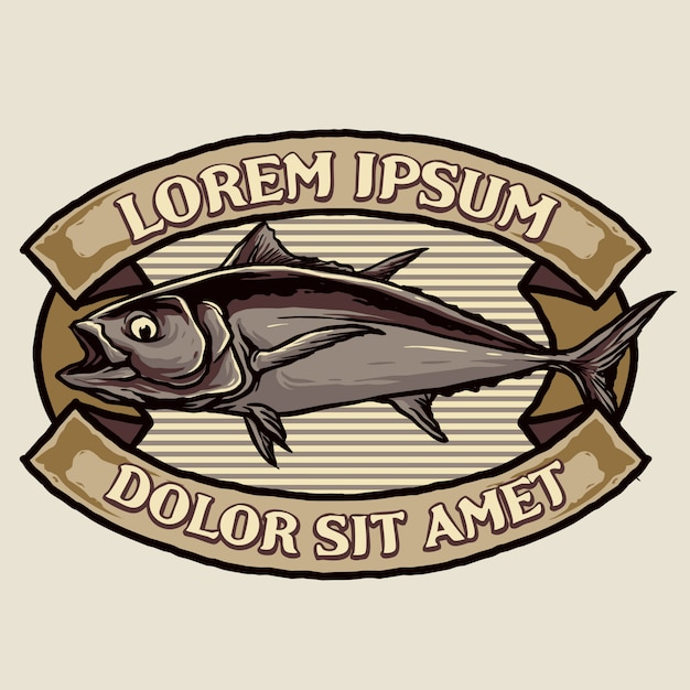 Thunfisch vintage abzeichen design Premium Vektoren