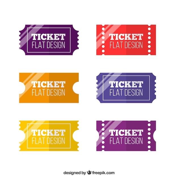 Tickets flaches design pack Kostenlosen Vektoren