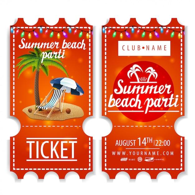 Tickets für die sommer-strandparty Premium Vektoren