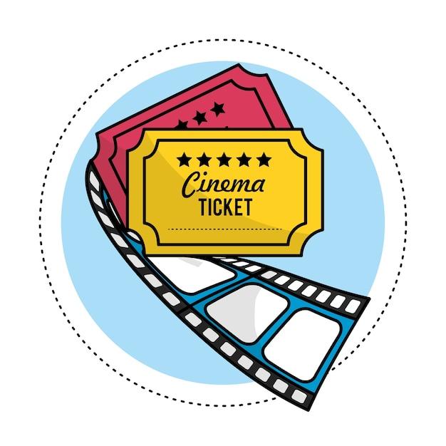 Tickets mit filmstreifen zur kurzfilmszene Premium Vektoren
