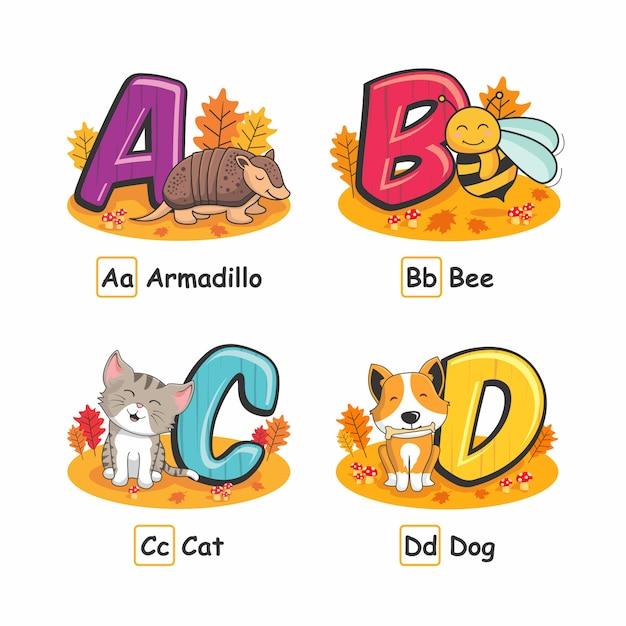 Tier-alphabet autumn armadillo bee cat dog Premium Vektoren