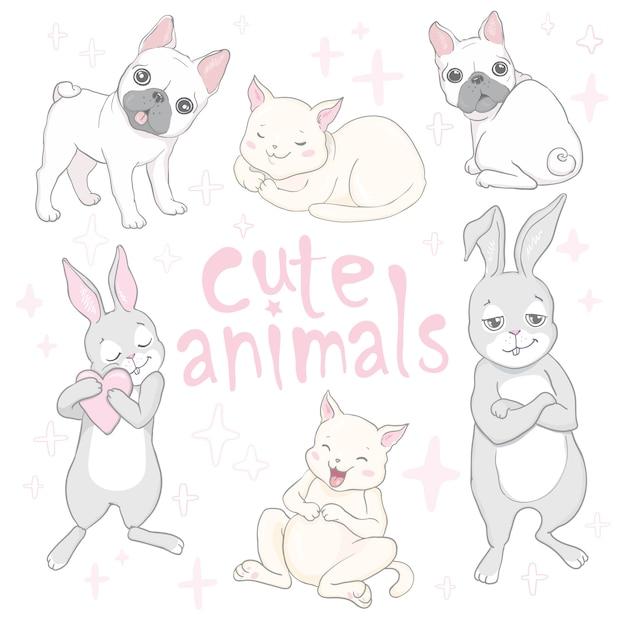 Tier-babykarte und -einladung der karikatur niedliche Premium Vektoren