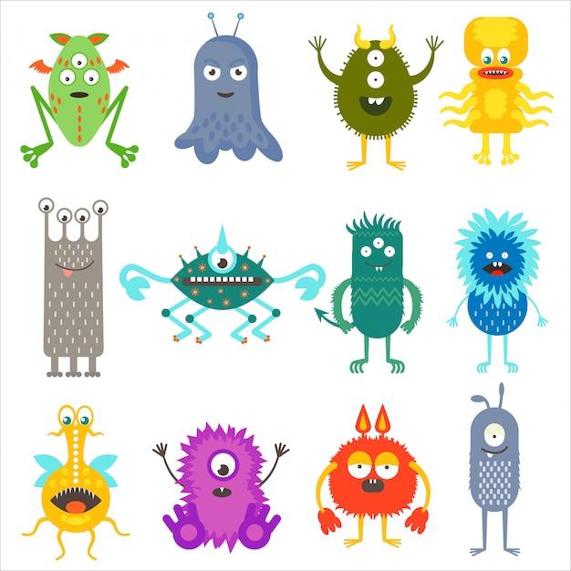 Tier-monsterausländer der karikatur nette farbtiere Premium Vektoren