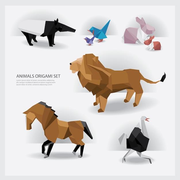 Tier-origami-gesetzte vektor-illustration Premium Vektoren
