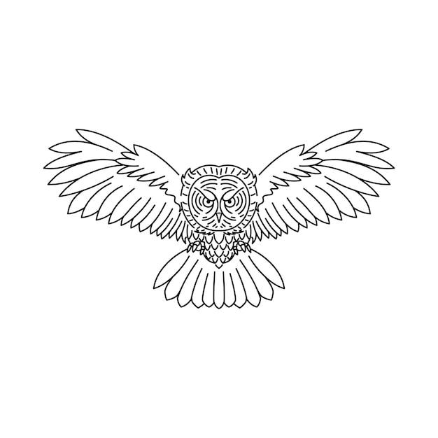Tier vogel wolf linie Premium Vektoren