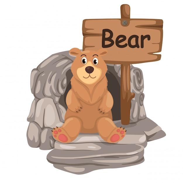 Tieralphabetbuchstabe b für bären Premium Vektoren