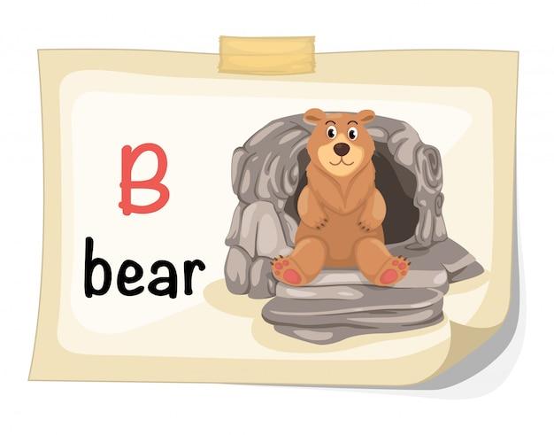 Tieralphabetbuchstabe b für bärenillustrationsvektor Premium Vektoren