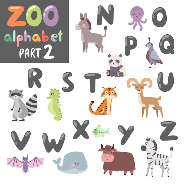 Tieralphabetsymbole und schriftartalphabet der wild lebenden tiere Premium Vektoren