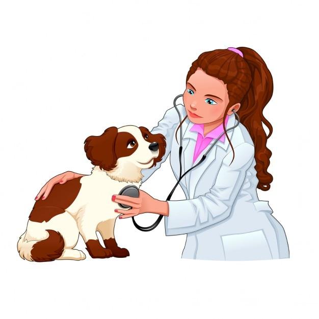 Tierarzt mit hund funny cartoon und vektor isoliert zeichen Kostenlosen Vektoren