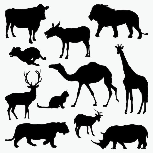 Tiere 2 silhouetten Premium Vektoren
