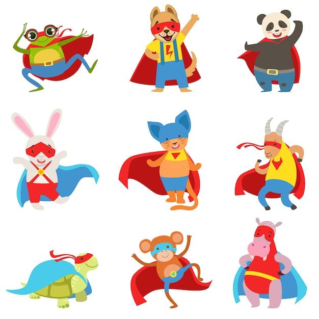 Tiere als superhelden mit umhängen und masken gekleidet Premium Vektoren
