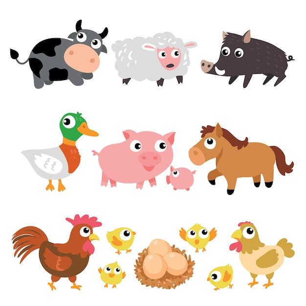 Tiere auf dem bauernhof sammlung Kostenlosen Vektoren
