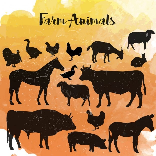 Tiere auf dem bauernhof silhouette Kostenlosen Vektoren