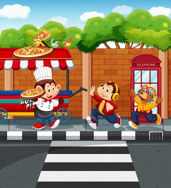 Tiere, die pizza im park verkaufen Kostenlosen Vektoren