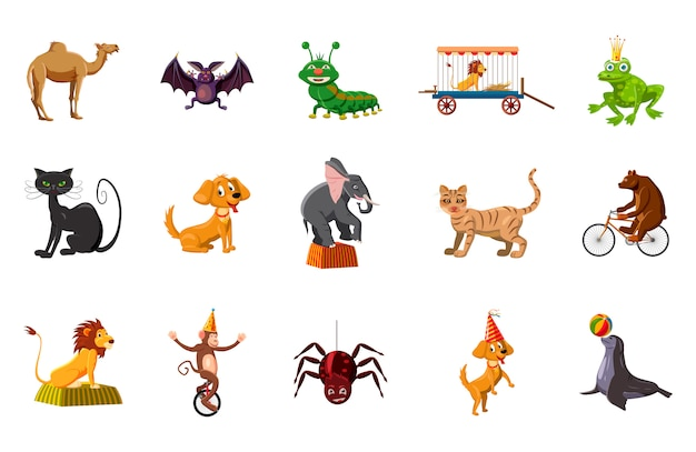 Tiere elementsatz. cartoon-set von tieren Premium Vektoren